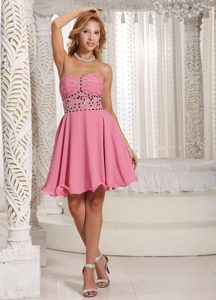 Fabulous A-line Beaded Zipper-up Senior Homecoming Dresses in Rose Pink