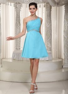 Sweet Ruched and Beaded Middle School Homecoming Dresses in Aqua Blue