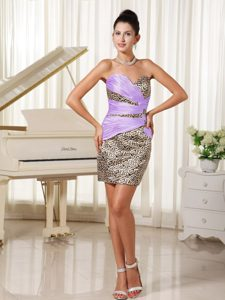Elegant Zipper-up Ruched Leopard College Homecoming Dress in Multi-color