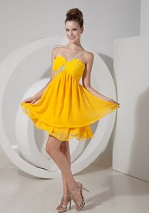 Magnificent One Shoulder Zipper-up Yellow Homecoming Dresses On Sale