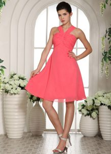 Romantic V-neck Watermelon Ruched Designer Homecoming Dress for Fall