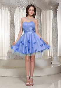 Fabulous Sweetheart Zipper-up Lilac Evening Homecoming Dress with Flowers