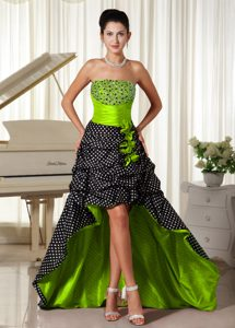 Unique Strapless High-low Beaded Multi-color Homecoming Dress for Prom