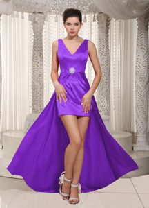 V-neck High-low Purple Zipper-up Discount Party Dresses for Homecoming