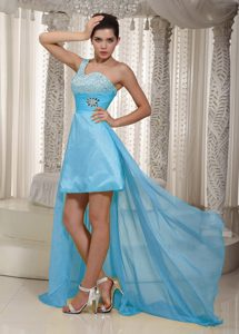 Sweet One Shoulder High-low Homecoming Dresses in Aqua Blue
