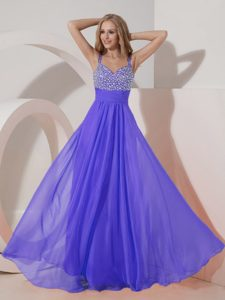 Customize Chiffon Purple Straps Celebrity Homecoming Dresses with Beaded Bust