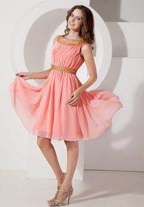 Watermelon A-line Bateau Knee-length Chiffon Homecoming Queen Dress with Beads