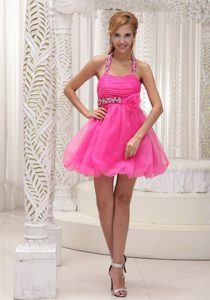 Beads Decorated Halter and Handmade Flower Hot Pink Homecoming Dress in Organza