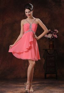 V-neck Zipper-up Watermelon Short Homecoming Court Dresses with Beaded Straps