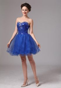 Royal Blue Sweetheart Beaded Mini-length Homecoming Princess Dresses in Organza