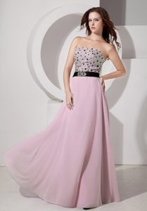 Luxurious Light Pink Empire Strapless Homecoming Queen Dress with Beads and Sash