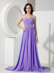 Empire Sweetheart Chiffon Purple Homecoming Princess Dresses with Brush Train