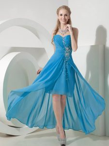 Sweet Light Blue Hi-lo Sweetheart Chiffon Homecoming Dress for Prom with Beads
