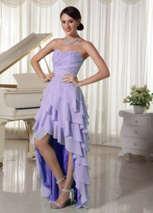 Sweetheart Empire Beaded Chiffon Layered Homecoming Court Dress with High Low