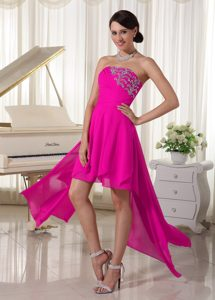 Strapless Beaded and Ruched Homecoming Court Dresses in Hot Pink with High Low
