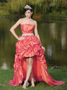 High-Low Coral Red Strapless Homecoming Princess Dresses with Pick-ups