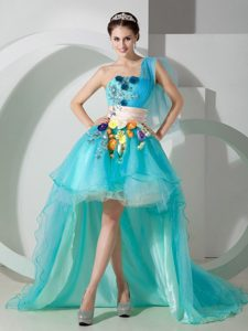 Super Aqua Blue One Shoulder High-low Homecoming Dress with Beads and Appliques