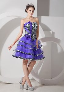 Zebra Purple A-line Strapless Layered Homecoming Dress for Miliary Ball in Mini-length