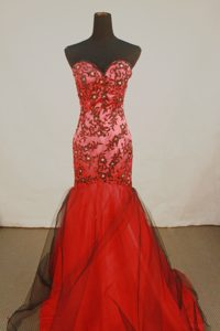 Sexy Mermaid Sweetheart Red Prom Party Dress with Appliques for Custom Made