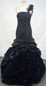 Elegant Mermaid One Shoulder Black Prom Dress with Pick-ups for Cheap
