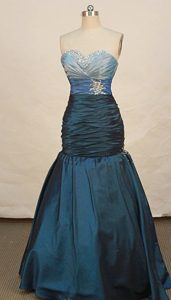 Fashionable Mermaid Sweetheart Blue Prom Dresses with Beading and Ruching