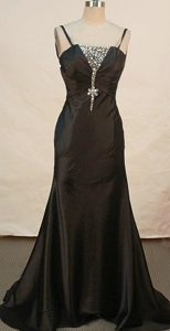 Perfect Black Appliqued Prom Party Dresses with Beading and Brush Train