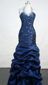 2013 Fashionable Mermaid Halter Top Navy Blue Prom Dress with Beading