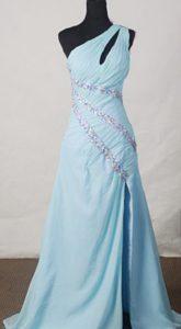 Beautiful Light Blue A-line One-shoulder Beaded Prom Dresses for Custom Made
