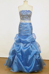 Beautiful Mermaid Strapless Blue Beaded and Ruched Prom Dresses with Pick-ups