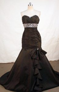 2014 Perfect Mermaid Sweetheart Brown Beaded Prom Dresses with Brush Train