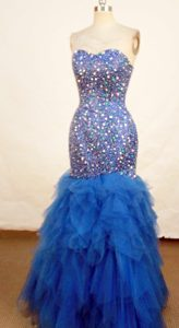 Shinning Exquisite Mermaid Sweetheart Blue Beaded Prom Dresses on Promotion