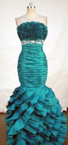 Gorgeous Mermaid Strapless Green Beaded and Ruched Prom Dresses for Cheap