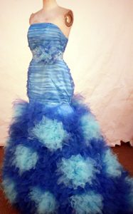 2013 Gorgeous Mermaid Strapless Blue Beaded Prom Dresses with Special Fabric
