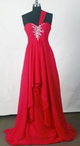Cheap Empire One Shoulder Red Prom Dress with Beading and Ruching in 2014