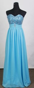 Cheap Baby Blue Empire Sweetheart Prom Dress with Beading