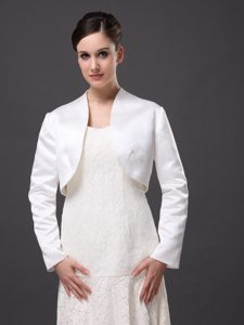 White Satin Jacket For Wedding and Other Occasion With Long Sleeves