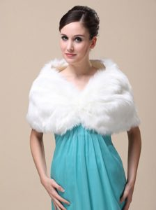 Unique Rabbit Fur Special Occasion / Wedding Shawl In Ivory With V-neck