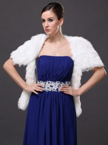 Faux Fur Wedding Affordable Short Sleeves Prom And Wedding Party Jacket White