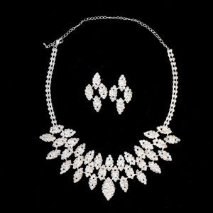 Shimmering Alloy With Rhinestones Ladies Necklace and Earrings Jewelry Set