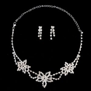 Exquisite Flower Shaped Rhinestone Wedding Jewelry Set Including Necklace And Earrings