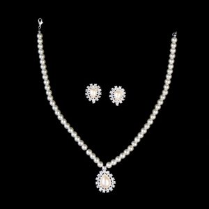 Vintage Style Pearl With Rhinestone Drop Necklace And Earring Set