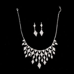 Amazing Rhinestons Alloy Plated Jewelry Set Including Necklace And Earrings