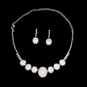 Elegant Pearl With RhinestoneWedding Jewelry Set Including Necklace And Earrings