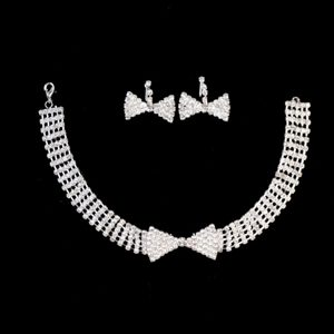 Lovely Bowknot Shaped Rhinestone Bridal Jewelry Set Necklace With Earrings