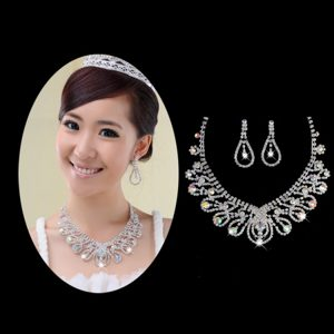 Shimmering Colorful Rhinestones Ladies Necklace and Earrings Jewelry Set