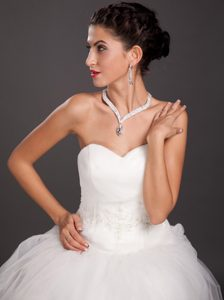 Ivory Rhinestone Imitation Pearl Two Pieces Ladies Necklace and Earrings Jewelry Set