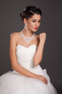 Gorgeous Imitation Pearl Bridal Jewelry Set Including Necklace With Earrings