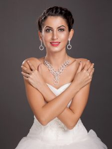 Marvelous Round Shaped Alloy Wedding Jewelry Set Including Necklace And Earrings