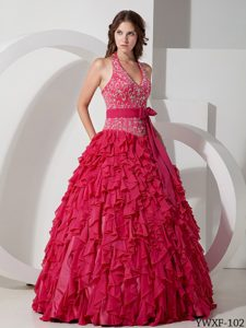 Romantic Ball Gown Halter Long Chiffon Quinceanera Dress with Bow Sash