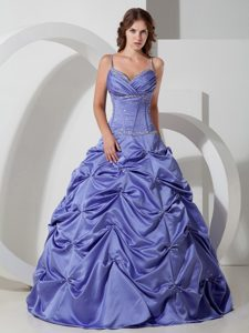 Best Lilac A-line Beading Quinceanera Dresses Gowns with Spaghetti Straps